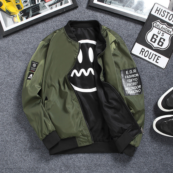 New Style MEN'S Coat 2018 Spring And Autumn Jacket Men's Double-sided Wear Flight Suit Korean-style Slim Fit Sports Casual Gown