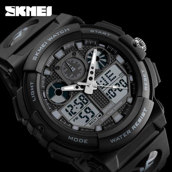 Wholesale SKMEI Men Sports Watches Digital Double Time Chronograph Watch 50M Watwrproof Week Display Wristwatches Relogio Masculino 1270