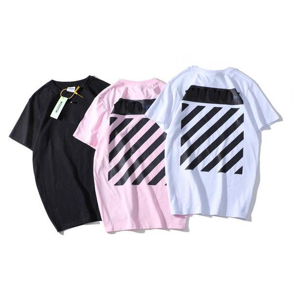 Designer Brand Wide Stripe Short-Sleeved Speed Belt Sketched Behind The Street Fashion Men And Women Couple Short-Sleeved T-Shirt
