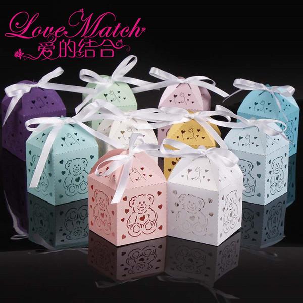50pcs découpés au laser boîtes à ours mignons faveurs de douche de bébé, enfants boîte de cadeau de fête d'anniversaire boîte de chocolat et décoration de fête pour bébé cadeau