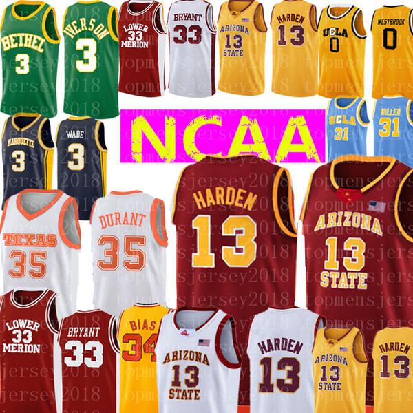 NCAA 13 James Harden Jersey College 34 Len Bias UCLA Reggie 31 Miller broderie Maillots de Basketball pas cher en gros