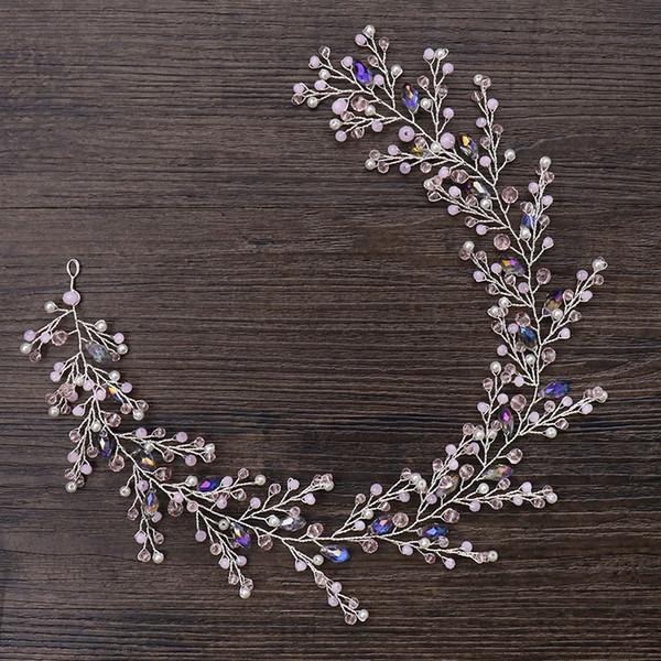 Violet Perles /& Cristal Noir Tiara Bandeau Handmade Mariées Demoiselles d/'honneur de bal