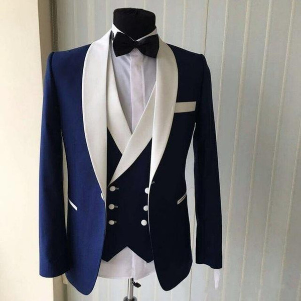 High Quality One Button Blue Groom Tuxedos Shawl white Lapel Groomsmen Best Man Suits Mens Wedding Suits (Jacket+Pants+Vest+Tie)
