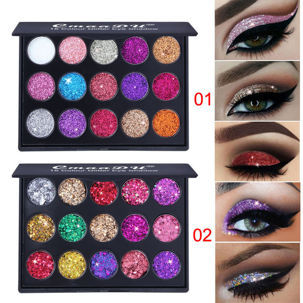 CmaaDu 15 Farben Glitter Lidschatten Diamant Pailletten Shiny Lidschatten-Palette Branded Shining Eyes Make-up-Paletten