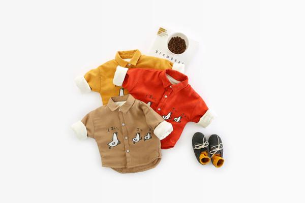 WLG boys girls winter velvet cartoon shirts baby casual thick chicken printed warm tops kids thick all match shirts children 1-4