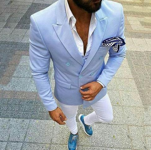 Custom Light Blue Men Suits For Wedding Casual Groom Tuxedos Bridegroom Wear Slim Fit Man Blazers 2 Piece Coat Pants Prom Party CY08