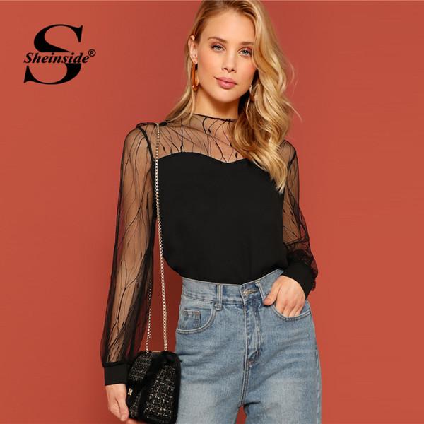 Sheinside Schwarz Elegante Kontrast Mesh Sheer Sleeve Bluse Frauen 2019 Frühling Lässige Minimalistische Blusen Fashion Solid Bottom Shirt Y19050501