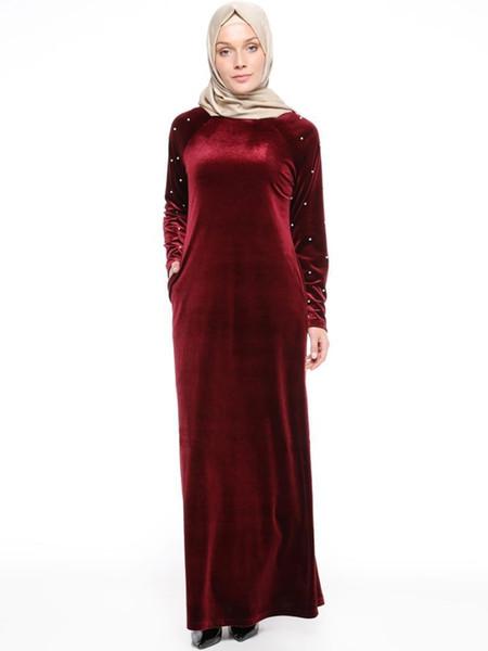 Mz Vêtement Femme Plus La Taille Manches Longues Abaya Islamique Femme Musulman Vêtements Lady Kaftan Long Femmes Turc Maxi Dress