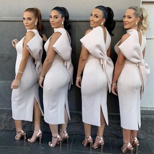2019 modest African Nigerian halter Satin sheath Bridesmaid Dresses backless with big bow split Wedding Guest Maid Of Honor Dresses cheap