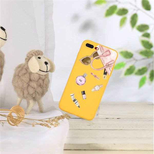 Unique Cute Lipsticks Cosmetics Yellow Soft Silicon Phone Case Back Cover for iPhone and Samsung Galaxy S8plus