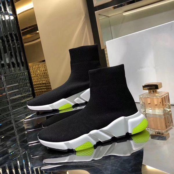 NOVOS sapatos de grife de Velocidade Sock Sneakers Esticar Malha Alta Top para homens das mulheres preto branco glitter vermelho Runner Flat Trainers fz19050114
