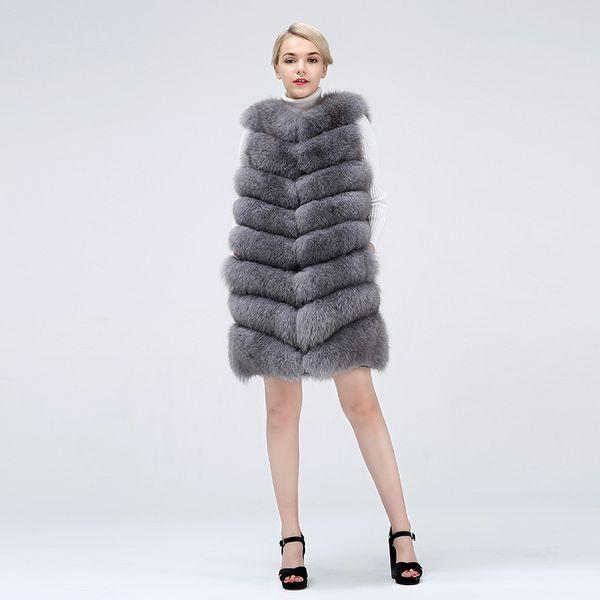 Gilet di volpe Cappotto in pelliccia naturale per giacca Cappotti da donna Abbigliamento da donna Cappotto in vera pelliccia per il tempo libero