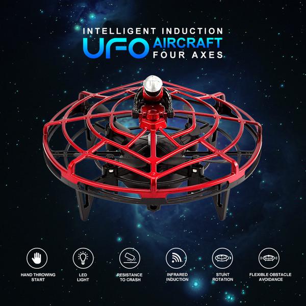 Inteligente inducción UFO cuatro ejes Aviones Gesto de detección de aviones no tripulados inteligente de detección de infrarrojos de inducción UFO Juguetes sensor Año Nuevo