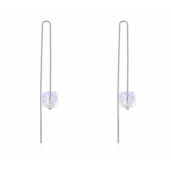 S925 Silver Block Crystal AB Candy drop Earrings Crystal from Swarovski Women girls long tassels Pendant accessories