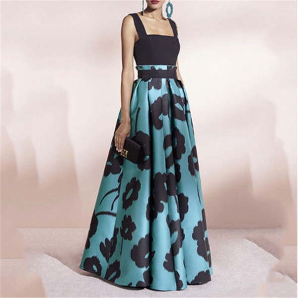 Mulheres elegantes dress slash neck vestidos sem mangas verão floral longo maxi evening party dama de honra vestidos de casamento mulher dress