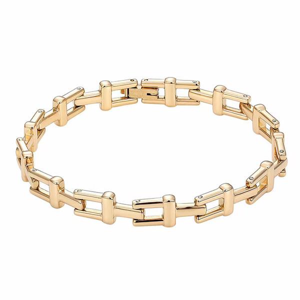 316L титановая сталь полый дизайн T письмо дамы браслет из розового золота 18К мужчины и женщины пара простой браслет