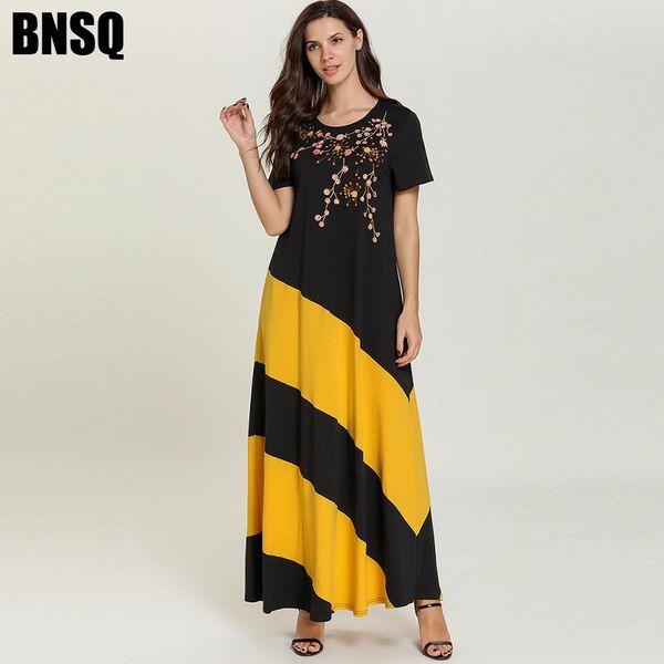 7770 Women Long Muslim Dress Embroidery Summer Robe Black Abaya Dubai Turkish Turkey Bangladesh Kaftan Plus Size Islamic Clothing