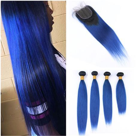 Малайзийский темно-синий ломбер человеческих волос ткать утки с закрытием #1B/синий ломбер прямые 4x4 передние кружева закрытие с 4Bundles 5 шт. лот