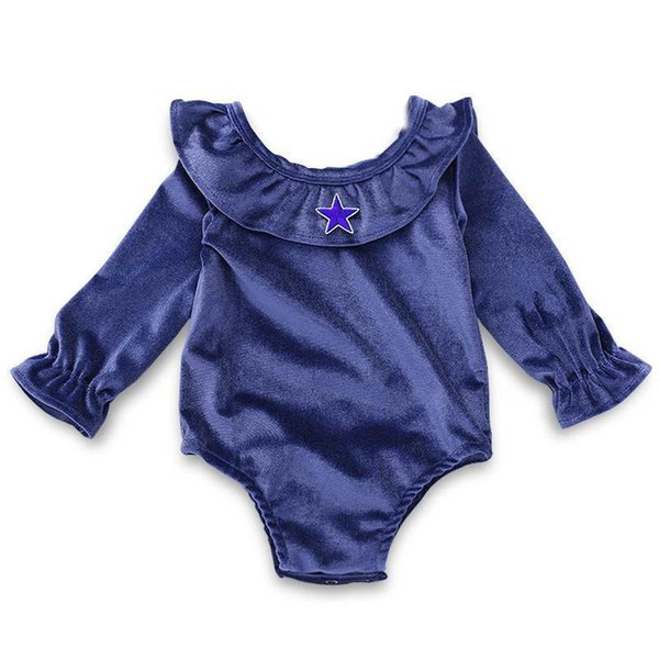 INS Baby lotus collar rompers Infant girl blue jumpsuit with star Toddler long sleeve bodysuit 3-18M