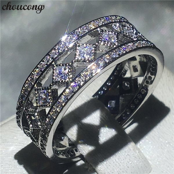 choucong Hollow Ring White Gold Filled Pave setting Diamond Engagement Wedding Band Rings For Women Bridal Finger Jewelry