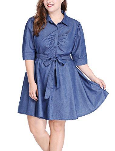 uxcell Agnes Orinda Women's Plus Size 1/2 Sleeves Belted Above Knee Denim Shirt Dress
