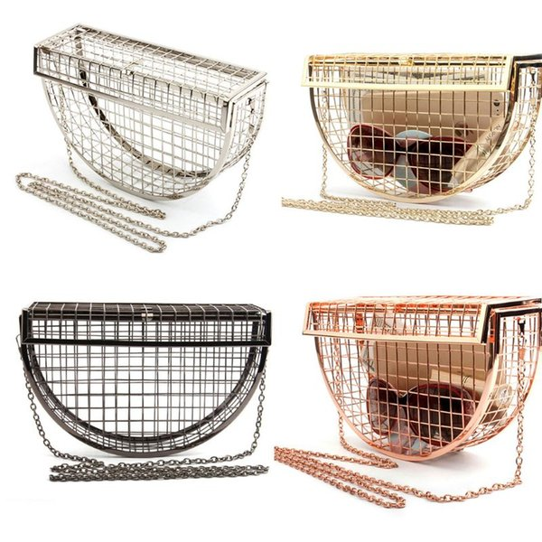 Vintage Women's Fashion Semicircular Geometric Evening Bag Lady Hollow Shoulder Wedding Party Horizontal Clutch Cage Bag New