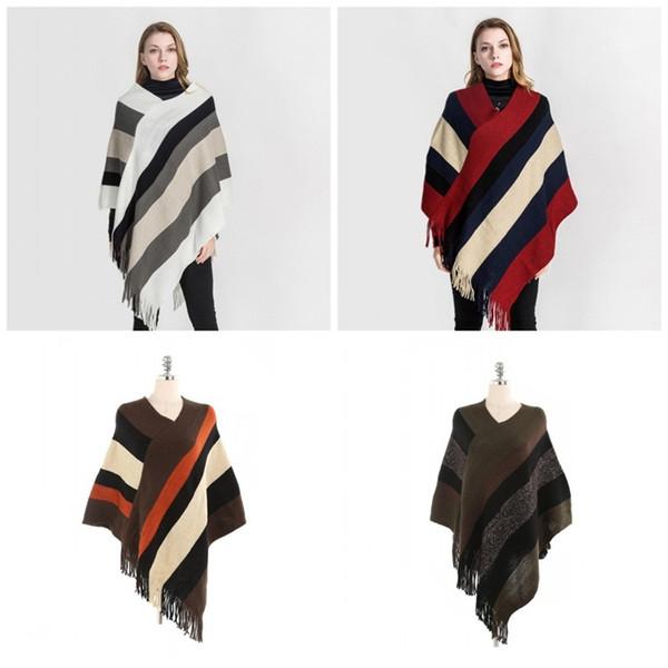Le fibre delle ragazze delle donne scialle popolare Mantello banda Fringe acrilico Lady inverno Foulard Wearable Cappotti vendita calda 25mta E1