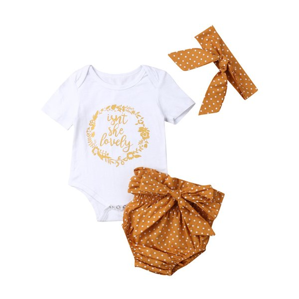 3Pcs Newborn Baby Girls Outfits Casual Print Romper + Shorts + Headband Suits Sweet Infant Kids Polka Dot Clothes Set Outwear