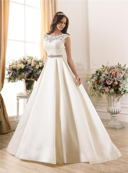 New Sheer Lace 2019 Wedding Dresses A-Line Satin Beads Sash Low Zip Back Ivory Spring Capped Bridal Gowns Ball Dress Wedding Style 459