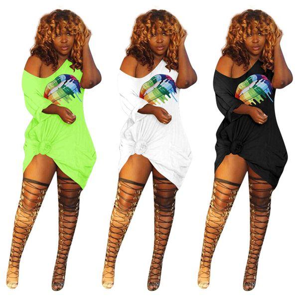 Women Off Shoulder Big Lips Sexy Dress Lovely Rainbow Printed Summer Short Sleeve T Shirt Dresses Skirt With Pocket Club Wear C41201