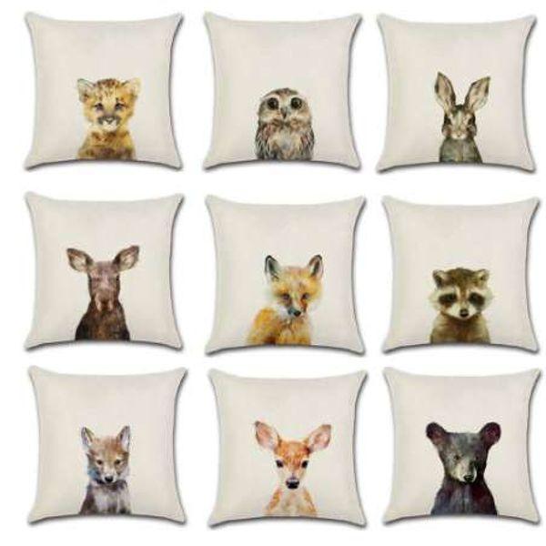 YWZN Conejo de Dibujos Animados Impreso Throw Pillow Case Algodón Lino Oso Búho Funda de almohada Fundas de almohada decorativas Funda de almohada