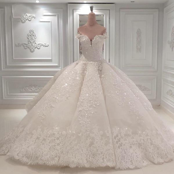 Dubai Lujoso Cristales de cuentas Vestido de bola árabe Vestidos de novia Sheer Cap Mangas Rebordear Lentejuelas Puffy Vestidos de novia largos por encargo
