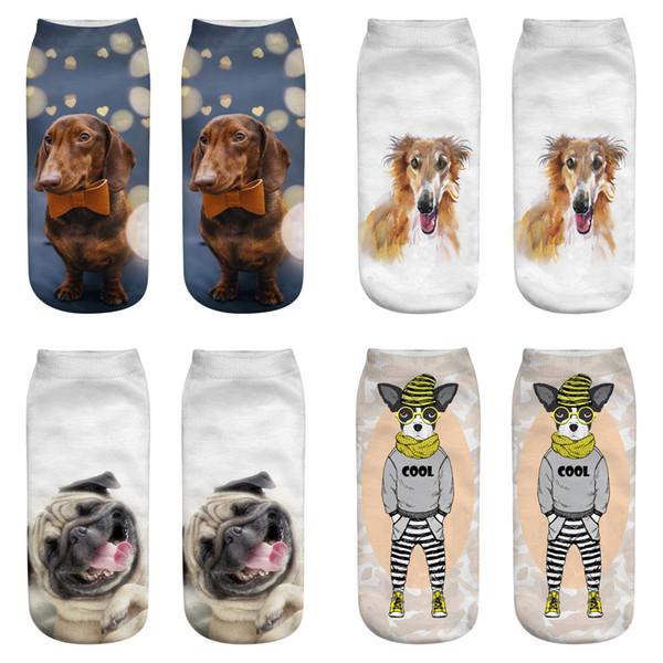 Kawaii 3D Baskı Çorap Kadınlar Harajuku Bilek Köpekler calcetines Kadın Chaussette Mujer Komik Çorap Sevimli Emoji Kısa Çorap MMA2911-B1