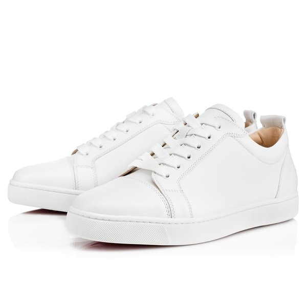 Wholesale Price -- Red Sole Low Top Sneakers Shoes Junior White Black Genuine Leather Women,Men Red Shoes Fashion Casual Shoes 3gff