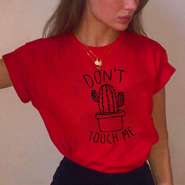 S-XXL Cactus T shirt Mujeres Casual Verano Camisetas Algodón Femme tops tees Vintage Negro Blanco Rojo T-shirt Mujeres