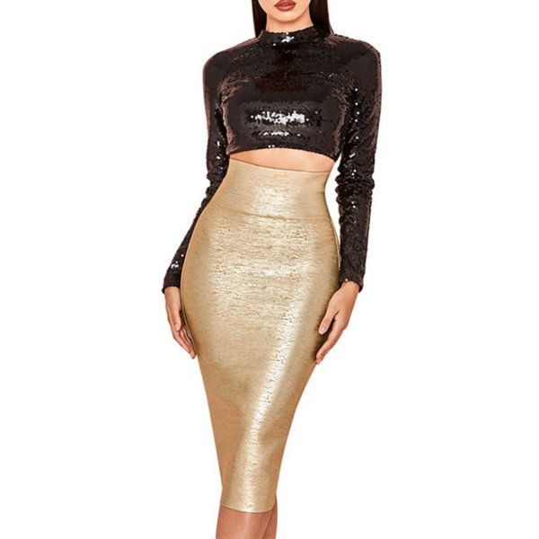 Gold Stamping Fashion Slim Women Bodycon Dress Gold Autumn Bandage Skirts Pencil Sexy Rayon Evening Club Party Dresses