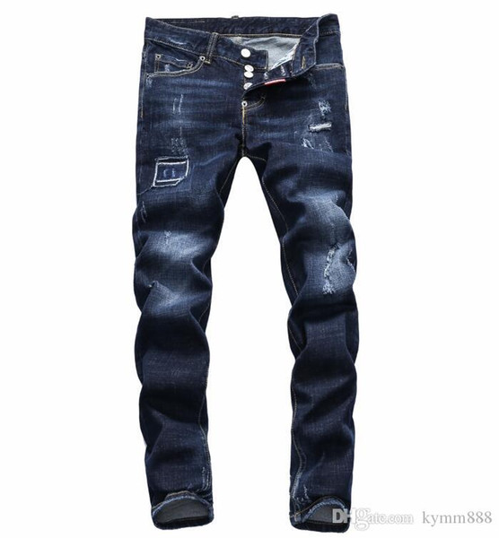 European standing men's jeans, men's jeans, a pair of skinny jeans and black embroidered skulls#064