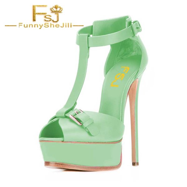 Lime Green T Strap Sandals Peep Toe Platform Stiletto Heels Summer Incomparable Attractive Fashion Generous Noble FSJ Elegant