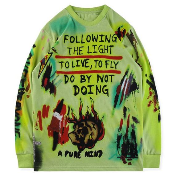 Neuestes Wes Lang Wyoming T-Shirt handgemaltes Graffiti auf einem dicken langärmeligen T-Shirt mit langen, coolen Tops