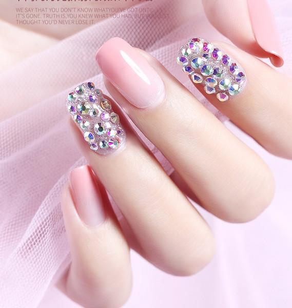 Web célébrité nouvelle manucure illusion bijoux fond plat diamant tridimensionnel taille circulaire mélange combinaison flash diamant