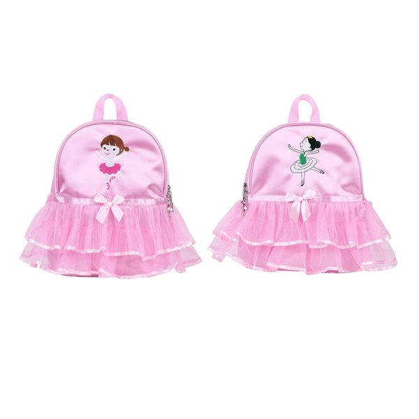 IIXPIN Kids Girls Ballet Dance Bag Students School Backpack Cartoon Girls Embroidered Tiered Ruffled Tutu Shoulder Bag Ballet