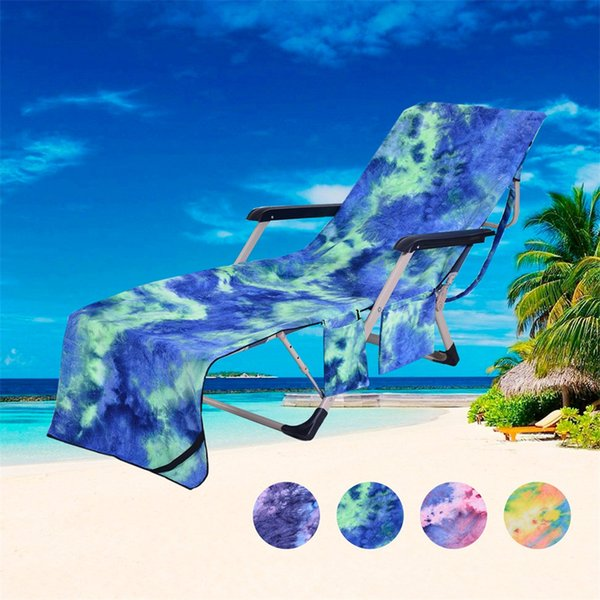 Taşınabilir Mikrofiber Plaj Havuz Güneş Şezlong Kapak Banyo Havlu Çanta 2 Cep Veranda Şezlong Sandalye Kapakları Açık Havlu