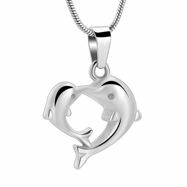 IJD10085 Cute Dolphin Cremation Urn Necklace for ash for Women Mother&Baby Kissing Dolphin Keepsake Ashes Locket Pendant