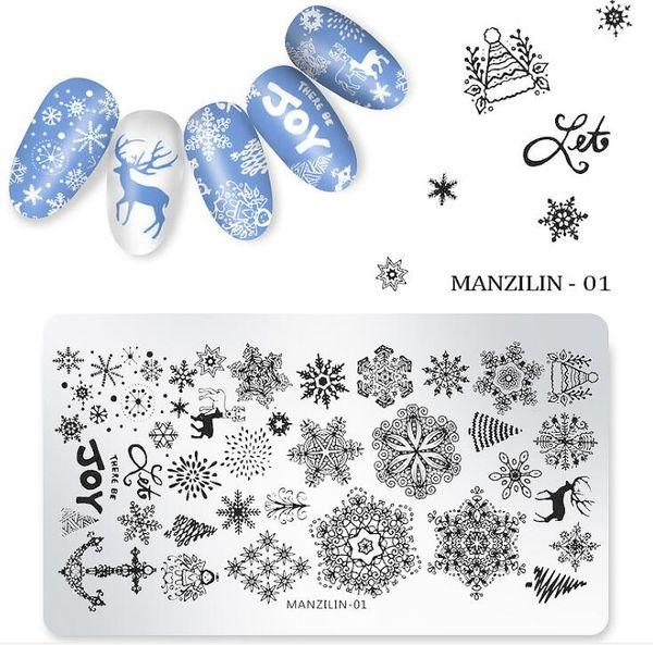 Tatyking ногтей штамповки пластин-5 стилей Рождество Санта Снежинка оленей дерево колокол ногтей штамп плиты наборы DIY маникюр шаблон изображения