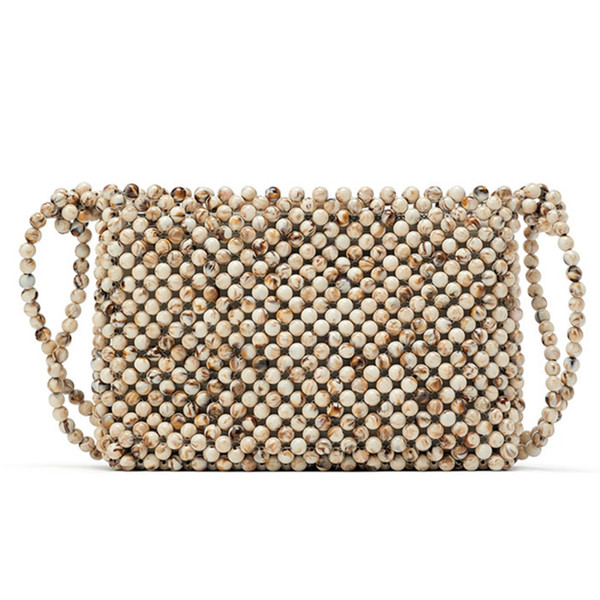 Women Acrylic Top-Handle Braided Bead Small Hollow Handbags Ladies Party Evening Bags