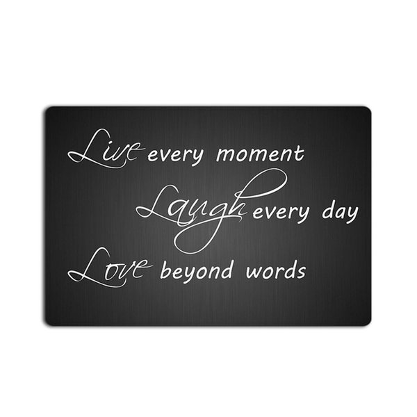 Fashions Black Live Laugh Love Letter Pattern Doormat Entrance Mat Floor Mat Rug Indoor/Outdoor/Front Door/Bathroom Mats Non Sli