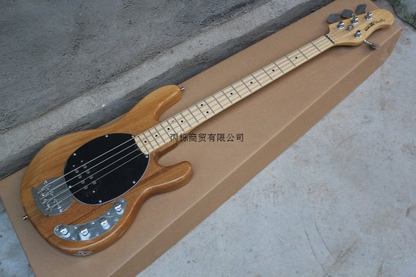Free Shipping Wholesale Standard Music Man StingRay 4 string black Electric Bass guitar with 9 V Battery active pickups