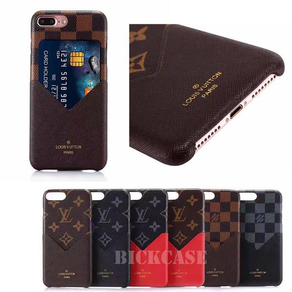 Del progettista di marca della cassa del telefono di iPhone Xr Xs MAX 6 Carta della copertura del telefono Pocket 7 8 più della cassa del raccoglitore del telefono di lusso in pelle