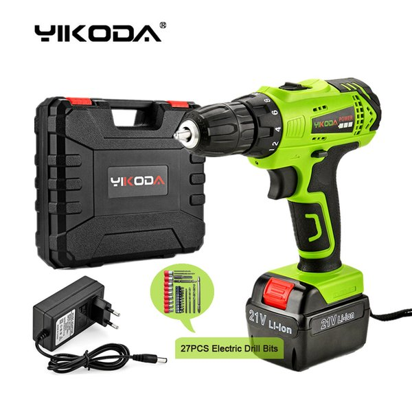 top popular Free Shipping 21v Cordless Screwdriver Battery Rechargeable Cordless Drill Electric Drill One Lithium Battery Plastic Case Plus Accessories 2021