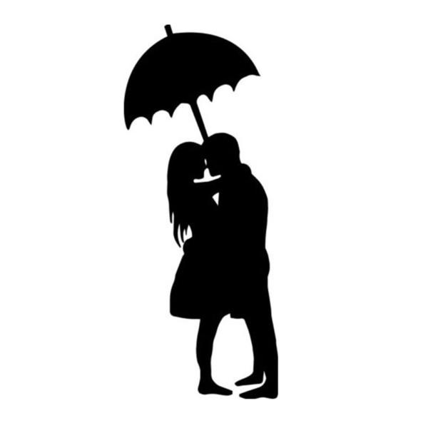 Couple Under Umbrella Decal Window Bumper Sticker Car Love Marriage Rain Hug Warm And Romantic